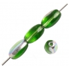 Glass Bead 9X6mm Oval Transparent Green/Vitrail - Strung